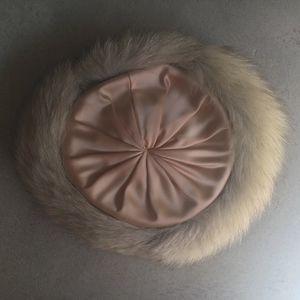 Gene Doris, New York Accessories - Vintage Fur and Pink Satin Hat